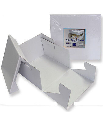 PME White 16'' / 406mm Square Folding Cardboard Cake Box Container Lift Off Lid