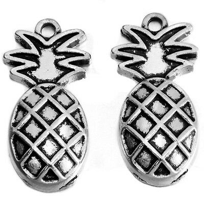 100Pcs Wholesale Vintage Silver Tone Pineapple Fruit Charms Alloy Pendants L