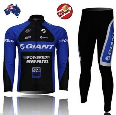 Men Giant Bicycle Cycle Clothes Sleeve Shirt Jersey Long Pants Cycling Suit