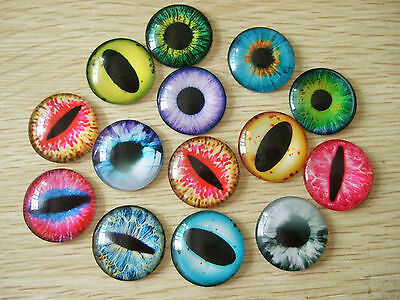 10 x Mixed Colour Dragon Eye Glass Cameo Cabochons For Jewellery & Model Making
