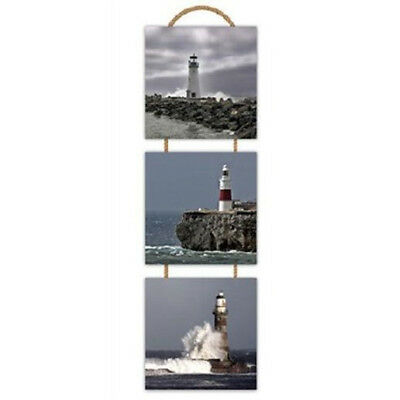 3x Set Of Wooden Wall Art Hanging Drawing Pictures Lighthouses