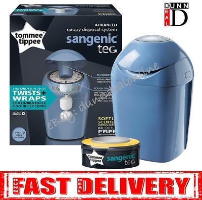 Tommee Tippee Sangenic Baby Nappy Diaper Disposal Bin Tub Cassette BLUE GREEN