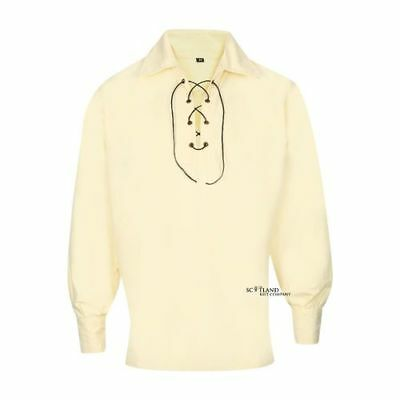 Mens Cream Polycotton Highland Ghillie Shirt with Lace for Tartan Kilt