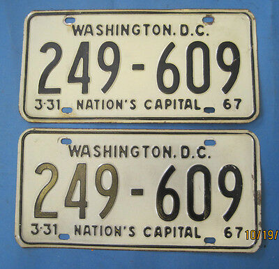 Matched pair of 1967 DC license plates