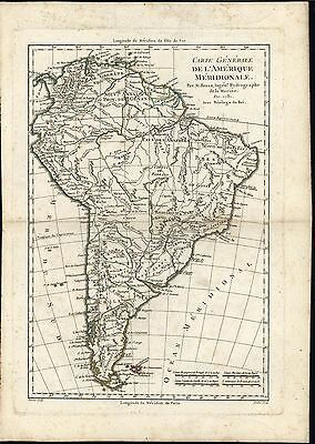 South America Amazon Brazil Chile 1781 Andre Bonne Amerique Meridionale map