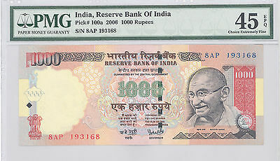 2006 India, Reserve Bank of India, 1000 Rupees, PMG 45 EPQ Ch Exmly Fine P#:100a