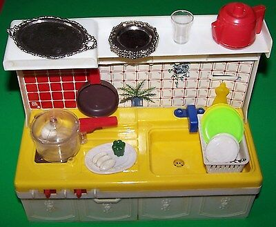 Vintage 1980's Battery Operated Kitchen Playset with Box - Smoking Stove - Boil