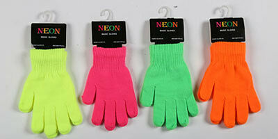 MAGIC NEON GLOVES FOR CHILDRENS KIDS GIRLS BOYS - Choice Pink Green Yellow Orang