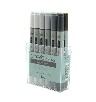 Copic Ciao Colour Marker Pen Set 12 Cool & Warm Grey