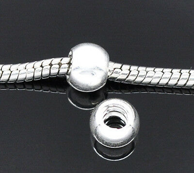 2pcs Stopper Screw Smooth Silver plated Charm Bead Fits European Bracelet c225