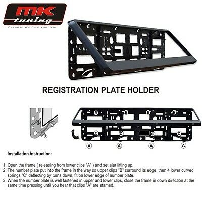 2x Black ABS Number Plate Surrounds Holder Frame for any Car