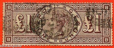 """SG. 186. K16. """" BB """". £1.00 Brown - Lilac. A good used example."""