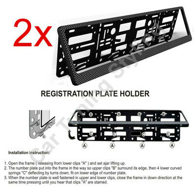 2x Carbon ABS Number Plate Surrounds Holder Frame For Mercedes W202 W203 W204