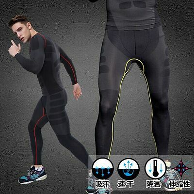 Men's Fitness Compression GYM Training Skin Base Layer Long Leggings Tight Pants