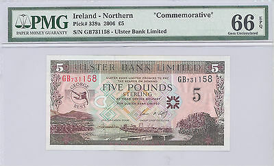 "2006 Ireland - Northern, ""Commemorative"" 5 Pounds PMG 66 EPQ GEM UNC P#: 339a"