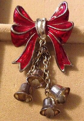 Vintage Christmas Bow With Dangling Bells Enameled Brooch Unsigned Classy