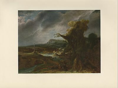 "1955 Vintage ""LANDSCAPE WITH OBELISK"" REMBRANDT Full Color Art Plate Lithograph"