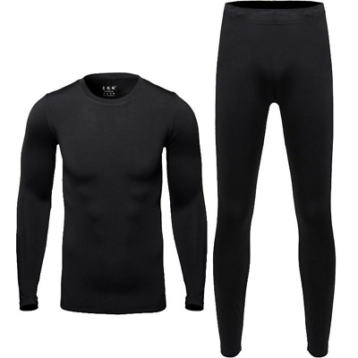 Men's Warm Long Johns Sports Thermal Underwear Tee Neck Top With Pants Workout