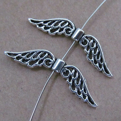 20pc Tibet Silver Charm angel wings spacer beads accessories wholesale  PL039