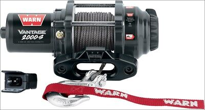 Warn Vantage 2000 lb 12V Winch w/ Synthetic Rope for Offroad ATV 4 Wheeler