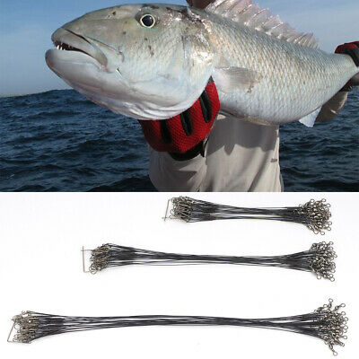 Lure 15 23 30cm Coated Wire Trace Pike Swivel Snap Link Fishing Pack of 72