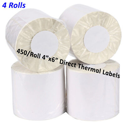4 Rolls Direct Thermal Shipping Labels 4x6 450/Roll For Zebra 2844 ZP450 Eltron