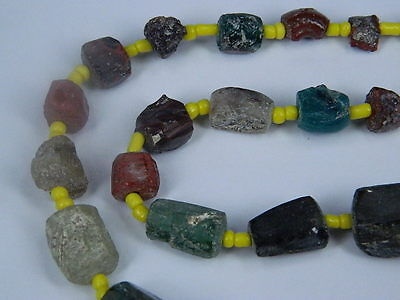Ancient Fragment Glass Beads Strand Roman 200 BC No Reserve    #ML1119