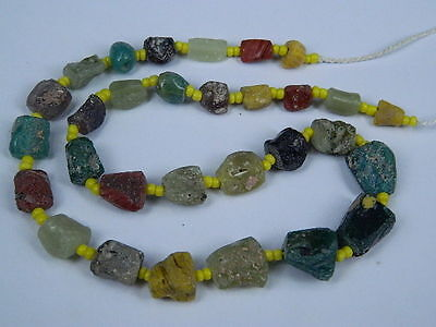 Ancient Fragment Glass Beads Strand Roman 200 BC   #ML1178