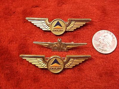 """Lot Of 3 Vtg Airlines """"wings"""" Pins, Steel """"aa - American Airlines"""", 2 X """"delta"""""""
