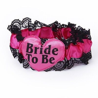 Bride To Be Hot Red Black  Lace Garter Wedding Hen Night Bachelorette Party L10