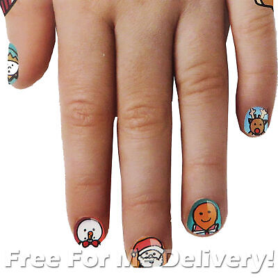FINGERNAIL FRIENDS - 25 Festive Xmas Style Kids Nail Stickers **FREE DELIVERY**
