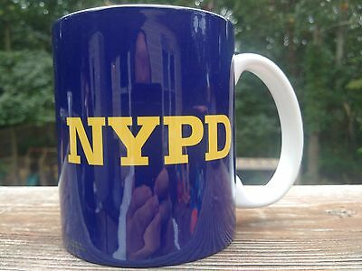 NYPD CITY OF NEW YORK POLICE DEPARTMENT 11 ounce coffee mug KOBALT AND YELLOW