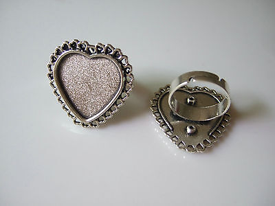 4 x Tibetan Silver Heart Ring Blanks Base Setting For 20mm Cameo Cabochon