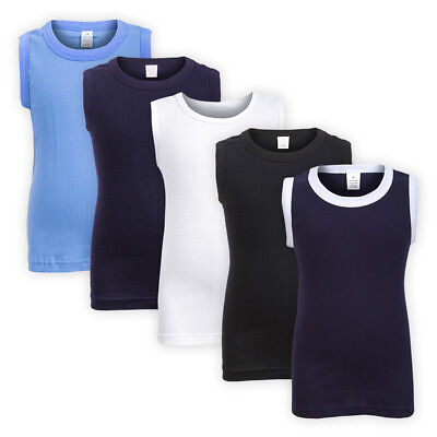 Boys Ribbed Cotton Vest Top Casual Kids Children Classic Sleeveless T-shirt