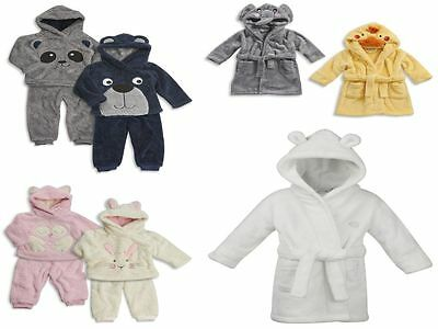 Baby Girls Boys Dressing Gowns Soft Fleece Robe Snuggle Soft Twosie Set 6-24M