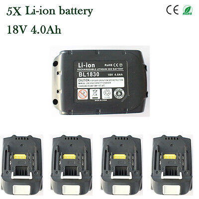 5X Makita BL1830 BL1840 LXT 18V 4.0Ah Lithium-ION LI-ION Battery Replacement