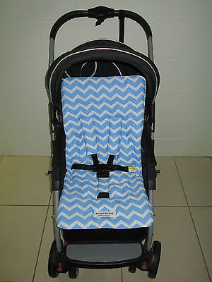 *BABY BOY BLUE CHEVRON*universal stroller,pram,car seat liner set *NEW*
