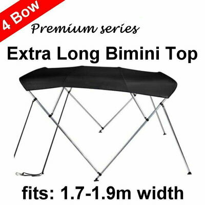240cm Extra Long 4 Bow 1.7m-1.9m Boat Bimini Top Canopy Cover 130cm height Black