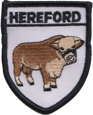 Herefordshire County Hereford Bull Embroidered Patch Badge