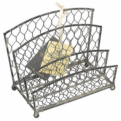 Rustic Metal Wire Letter Rack Shabby Chic Vintage Tray Desk Organiser Holder