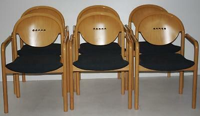 Set of 6 Vintage Italian TONON Stackable Teak and Bent wood Chairs [PL1576]