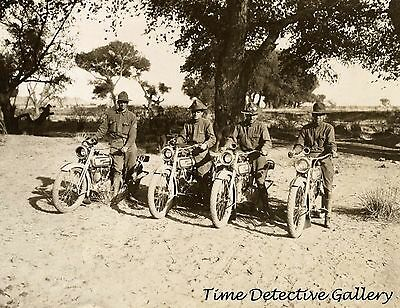 Motorcycle Squad on Harley Davidsons that Chased Pancho Villa 1916  Photo Print