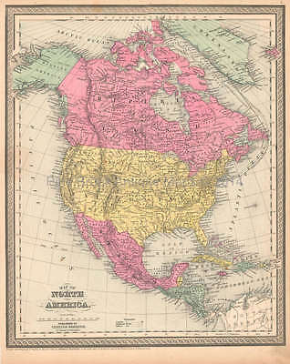 North America Antique Map DeSilver 1855 Original