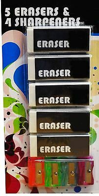 5 Erasers & 4 Sharpeners School Stationery Office Rubber White Gift Party Bag