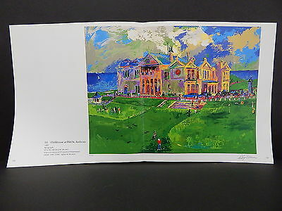 Leroy Neiman Double-Sided Book Plate Double Page 02 Clubhouse At Old St Andrews