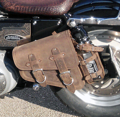 Harley Davidson Sportster  Brown Leather Left Sided Single Solo Saddle Bag