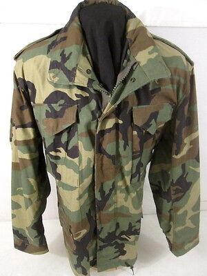post-Vietnam US Army M65 Woodland Camo Field Coat Jacket - Size Med/Reg NICE