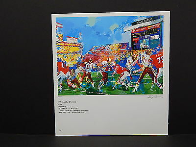 Leroy Neiman Double-Sided Book Plate S1#10 In The Pocket Redskins V Broncos
