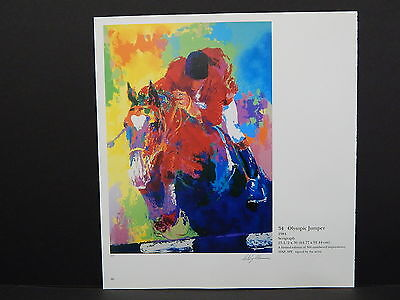 Leroy Neiman Double-Sided Book Plate S2#17 Olympic Jumper Horse Racing Jockey