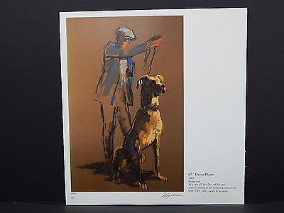 Leroy Neiman Double-Sided Book Plate S2#28 Great Dane And Owner